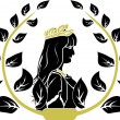 Laurel wreath with patrician romane woman profile — Stock Vector