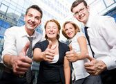 Happy office workers — Stock Photo