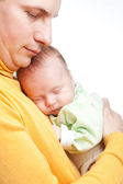 New born baby and father — Stock Photo