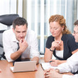 Manager with office workers in board room — Stock Photo #5888506
