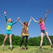 Stock Photo: Young girls express positivity