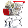 Market cart with money — Stock Photo #5387230