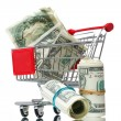 Market cart with money — Stock Photo #5387250
