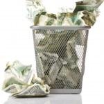 Money in basket — Stock Photo