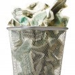 Money in basket - Stock Photo