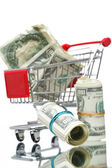 Market cart with money — Stock Photo