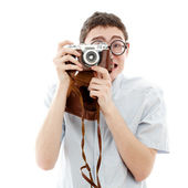 Happy nerd with camera — Stock Photo