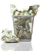 Money in basket — Stock Photo