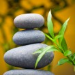 Massage stones with bamboo — Stock Photo