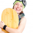 Woman with snowboard — Foto Stock