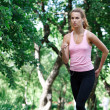 Stock Photo: Woman running in the park.