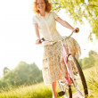 Woman with bicycle - Foto Stock