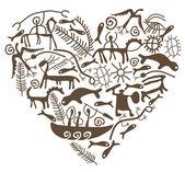 Shamanic heart — Stock Vector
