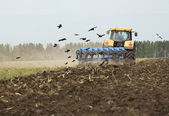 The tractor plows a field — Stock Photo