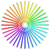 Coloured pencils arranged in a circle. — Stockvector