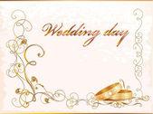 Carta di matrimonio vintage con anelli. — Vettoriale Stock