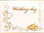 Vintage wedding card with rings. — Vector de stock