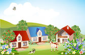 Summer rural landscape — Stock Vector