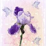 grunge illustration av iris blomma — Stockvektor