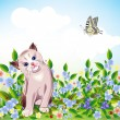 Blue-eyed little kitten at the meadow — Stock Vector