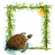 Tropical background with bamboo, sun and sea turtle. — Stock Vector