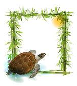 Tropische achtergrond met bamboe, zon en zee schildpad. — Stockvector