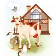 Country life.  Farm animals. Cow, cat and goose. — Stock Vector