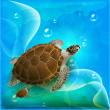 Turtles family swimming in the ocean — Stock Vector