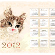 Vintage style calendar 2012 with cat — Vettoriali Stock