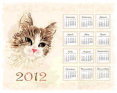 Vintage style calendar 2012 with cat — Stock Vector
