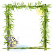 Tropical background with bamboo, sun and butterfly — Stock Vector #6587614