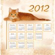 Hand drawn calendar 2012 with lying ginger kitten — Stock Vector