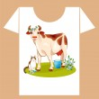 Childish t-shirt design with happy cow and cat — Stock Vector #6697283