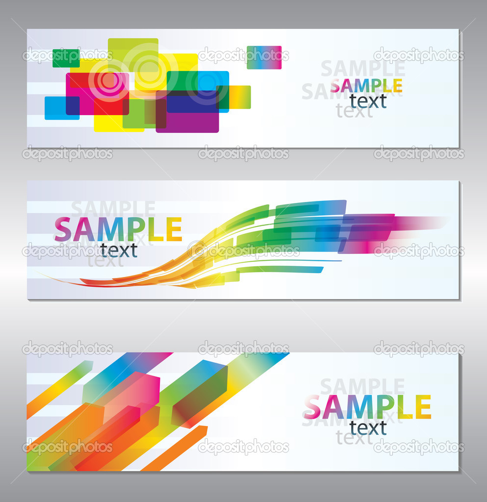 Vector set of three header design  — Image vectorielle #5517772