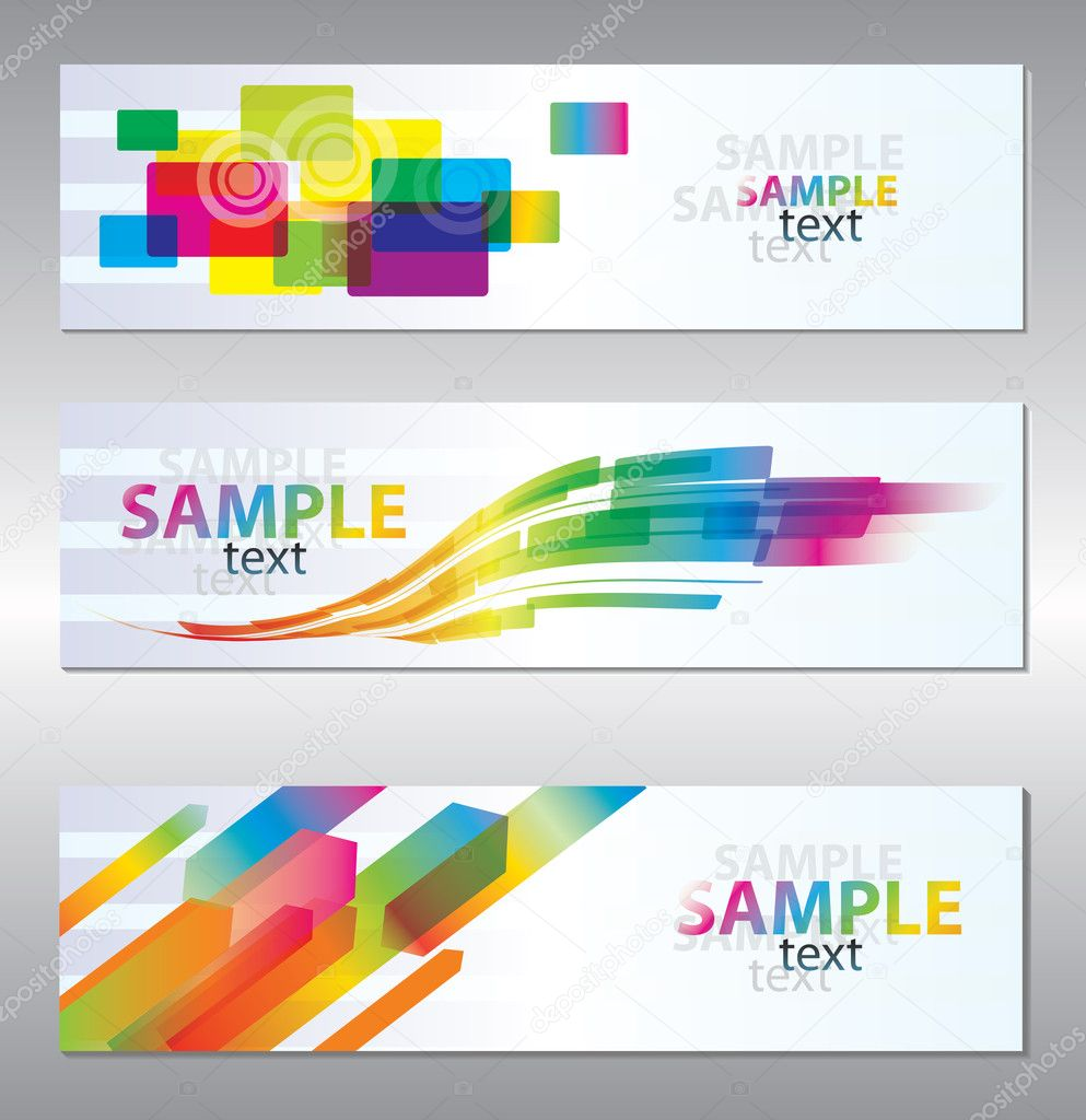 Vector set of three header design   Stok Vektr #5517772