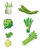 Set of green vegetables — Stock Vector