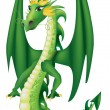 Cartoon  green dragon - Stock Vector