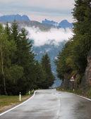 Carretera mojada en los alpes suizos — Foto de Stock