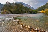 Superficial mountain small river — Stock Photo