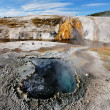 Stock Photo: Fumaroles with hot water azure.