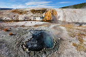 The fumaroles with hot water azure. — Stock Photo