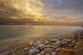 Wybrzeże morza martwego w izraelu w burzy grzmot wiosna. — Zdjęcie stockowe
