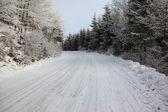 在雪上滑雪痕迹 — 图库照片
