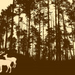 Silhouette of the deers in thick wood — Stockvectorbeeld