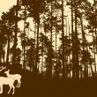 Silhouette of the deers in thick wood — Stock vektor
