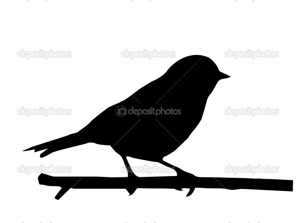 Vector silhouette of the small bird on branch stock - Vorlage vogel ...