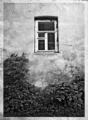 Old wall with white window — Stock Photo