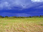 Spänt fältet före åskväder — Stockfoto