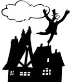 Chimney sweep on roof — Stock Vector