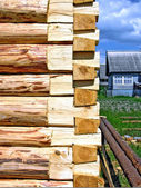 Construction of the wooden building — Stock Photo